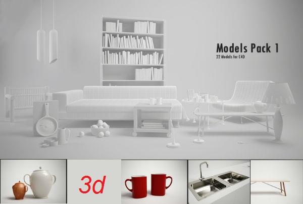 22 3D Models Furniture for C4D