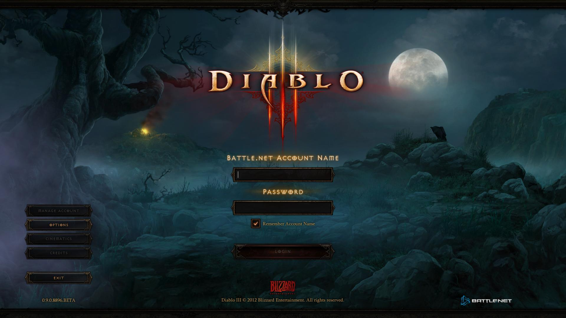 Diablo 3 startscreen